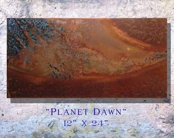 "Art Painting Copper Art Abstract Patina Painting ""Planet Dawn"" 12 x 24"" Metal Wall Art"