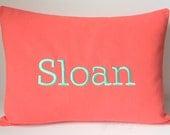MONOGRAM NAME Phrase Word Pillow Cover. Custom Personalized Throw Pillow. 12 x 16. Nursery Rocker. Dorm Decor. Family Name.Housewarming Gift