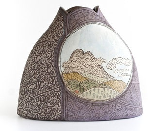 READY TO SHIP - mountain vase - folk - illustrated - handmade - on the trail series - art pottery