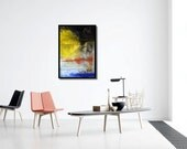 Abstract Art parrot printable download poster size colourful print download paintings yellow orange blue