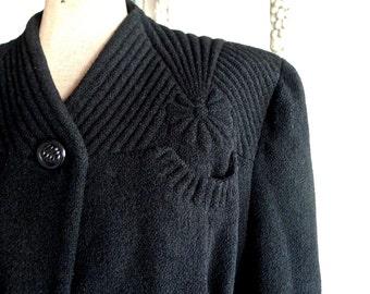 1940s Meier & Frank Quilt Stitched Daisy Black Winter Coat US Size 10 12