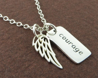 Silver Message Necklace Angel Wing Charm Modern Jewelry Graduation and Birthday Gift for Her