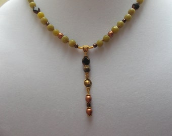 Fall yellow turquoise buri seed czech 20 inch Y necklace