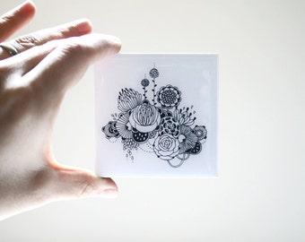 Mini Resin-Coated Print on Wood Panel - Floral 02