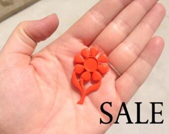 Vintage Orange Enamel Flower Brooch (4X) (E603) SALE - 90% off