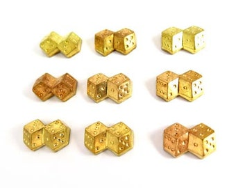 Brass Dice Charm Findings (8x) (V118)