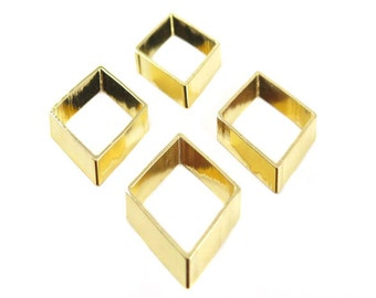 Gold Plated Geometric Diamond Charms (4x) (K107-C)