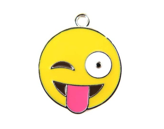 Rhodium Plated Smiley Wink and Tongue Face  - Emoji Charms (2x) (K304-B)