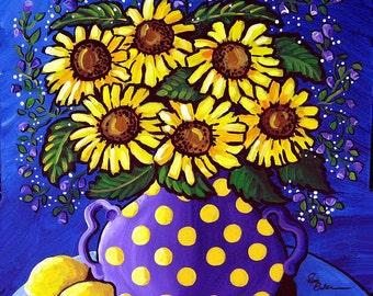 Sunflowers Lemons Purple Fun Whimsical Still Life Folk Art Giclee Print