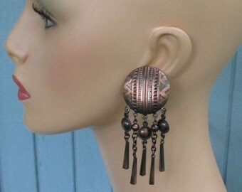Large Antique Copper Earrings, Designed Discs and Dangles, Vintage 1980's Jewelry, Pierced Stud/Post Boho Earrings