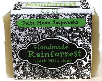 Rainforrest Goat Milk Soap, ready to ship, Best Selling Handmade Soap, facial soap, sensitive skin, Cold Process Soap, Shaving Soap,