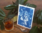 Eudora Welty - Archival print of cyanotype from an original portrait drawing - Edition of 30 - Version 1