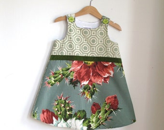Cactus Flower Toddler Girls Party Dress | Size 3T Girls Dress | Green Floral Toile Dress with Flower Buttons | Flower Girl Dress