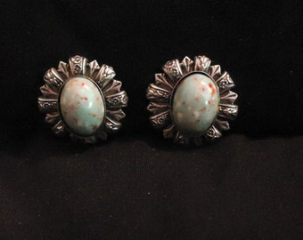 Vintage Silver and Turquoise Screw Back Earrings