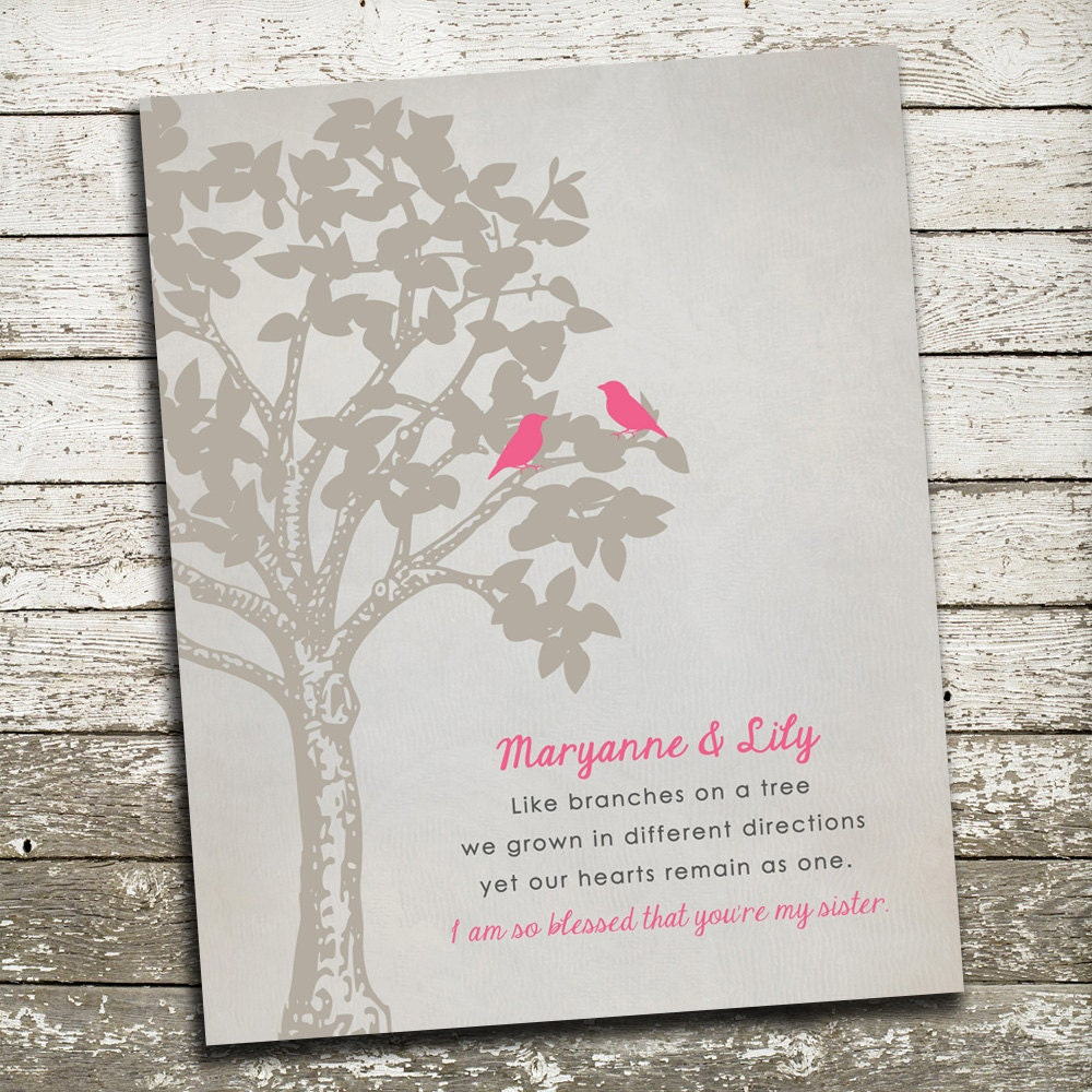 List Of Wedding Gifts For Sister : Gift for Sister Custom Print for the Wall Wedding Gift for