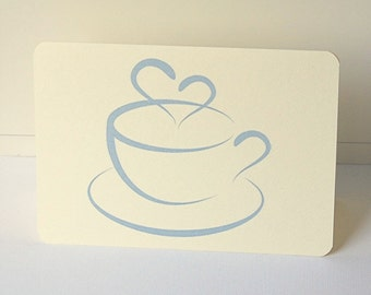 Teacup Note Cards, Blank Note Card Set, Blue Teacup Cards, All Occasion Cards, Thank you Note Cards, Greeting Cards