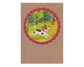 Playful Pooch Vintage Illustration Pocket Kraft Journal