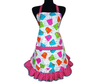 Neon Chinese Take Out Boxes , Retro Kitchen Apron for Women  , Adjustable with polka dot Ruffle / Asian Restaurant / Fortune Cookies