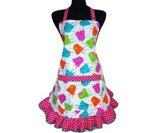 Retro Kitchen Apron for Women , Neon Chinese Take Out Boxes , Adjustable with Ruffle