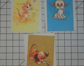 3 Cutel Unused Vintage Antique Card set with 3 envelopes 1 Happy Birthday, i Friendship, 1 Thinking of you 1950's 1960's Puppies and Kittens