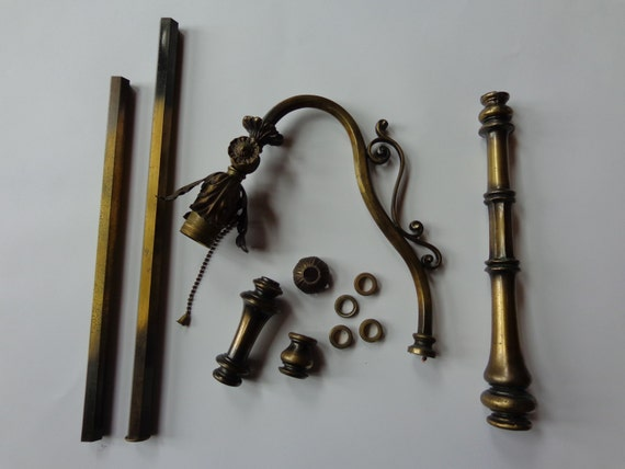 vintage cast metal brass floor lamp parts for by woodupnorth With brass floor lamp repair