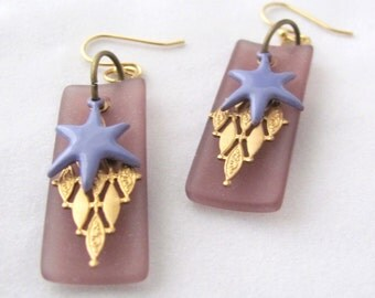 Star Earrings Purple Earrings C Koop Earrings Purple Brass Recycled Bottle Glass Earrings C Koop Enamel Star 14k Gold Plate Lavender Violet
