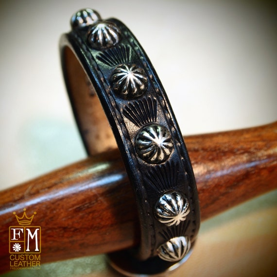Leather bracelet cuff Black Lean and Sexy Cowboy western style made for YOU in Brooklyn NYC!