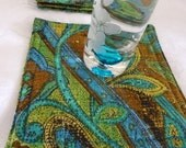 Paisley Quilted Modern Coasters - Set of 4