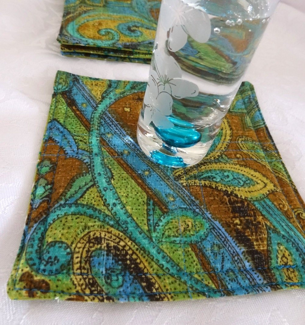 Paisley Quilted Modern Coasters Set Of 4 By Clubaloha On Etsy