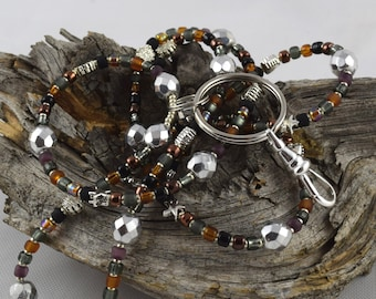 Back To School MAHOGANY black brown grey handcrafted beaded lanyard perfect for teachers nurses students anyone with an ID badge keycard etc