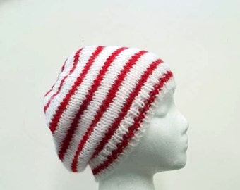 Red and White small Stripe beanie hat handmade   5142