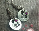 Tiny stamped dog earrings
