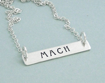 Sterling Silver MACH Necklace - Dog Agility Necklace - Hand Stamped Bar Necklace - Dog Agility Gift - Title Necklace