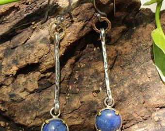 Silver drop earrings with lapis gemstone