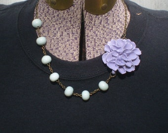Purple glass chrysanthemum necklace