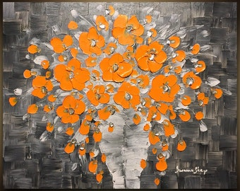 ORIGINAL Painting Grey & Orange Flowers Bouquet Vase Thick Impasto Texture Art Painting Home Decor Abstract Painting Still Life by Susanna