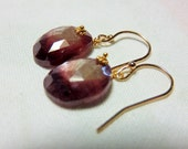 LAST DAY 20% OFF (Code:SALE20) Natural rose cut fancy flat Sapphire gemstone, and 14K Solid Yellow Gold Earwires