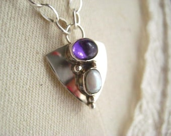 Sterling Necklace, Sterling Silver, White Pearl, Vintage Pendant, Amethyst Stone, Womens Jewelry, Swivel Clasp