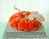 Vintage Velvet Pumpkin, Medium, Ringe Bearer Pillow, Fall Decor, Autumn, Dark Orange, Recycled Wool, Adjustable Wire Stem, Honeysuckle Lane
