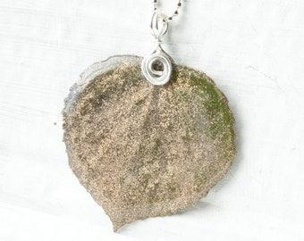 Champagne Aspen Leaf Pendant, Bridesmaid Jewelry, Nature Jewelry, Glitter Earrings