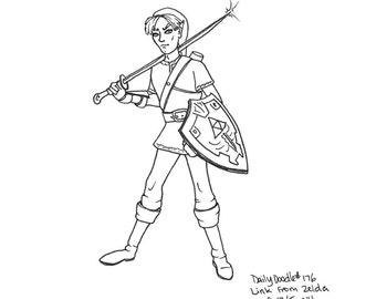 No.176 Link From Zelda / Original Artwork / Daily Doodle / Art Print
