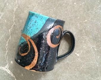 Pottery Mug, Stella Maris mug, coffee mug, tea cup, handmade pottery mug