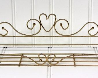 Vintage Vanity Tray - Hanging Shelf - Heart Swirls - Gold Tone - Cottage Chic - Romantic Catchall