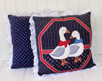 Hand-Quilted Duck Pillow - Bird Pillow with Lace - Navy Blue - Country Calico - Farm Animal- Kitschy