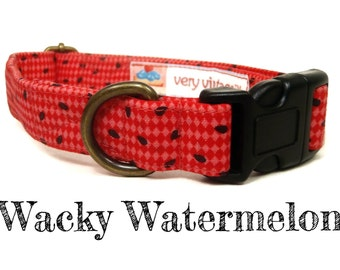 "Summer Dog Collar - Red Watermelon Seed Dog Collar - Organic Cotton - Antique Brass Hardware - ""Wacky Watermelon"""