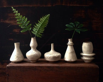Made To Order-  set of 5 mini stoneware bud vases in crater white matte be sara paloma