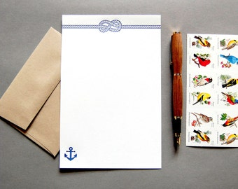 Letter Writing Kit: Nautical, letterpress stationery with envelopes