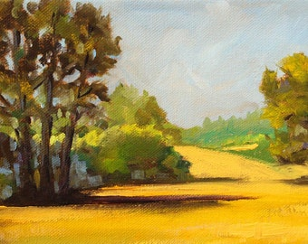 Original Landscape Oil Painting, Summer Meadow, Small 6x8 on Canvas, Trees Field, Gold, Yellow, Green, Blue Sky, Wall Decor, Sunshine