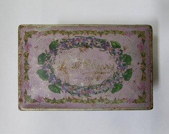 Vintage Louis Sherry Candy Tin Box, New York, lavender, violets, 30s, collectible, storage container