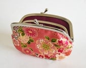 Women's Wallet Frame Purse with Divider Kimono Floral Pink Plum